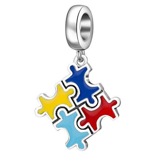 Hoobeads Colorful Puzzle Piece Charms Pendant Solid 925 Sterling Silver Bead for European Bracelet (Sterling Puzzle Charm Silver)