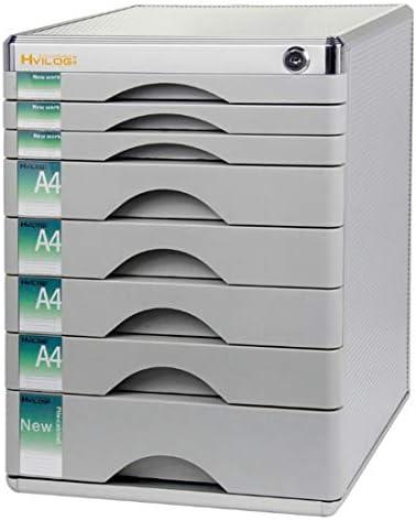 Qukick 8層ロックプラスチック引き出しデスクトップファイリングキャビネットA4ドキュメントロッカー (色 : Silver)