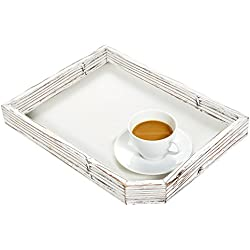 Rustic Farmhouse Style Rectuangular Wood Serving Tray with Distressed Whitewash Finish - MyGift