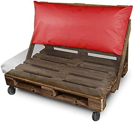HAPPERS Cojines para Palets 120x47 cm (tamaños para europalet) enfundados con Polipiel Náutica para Exterior en Color Rojo