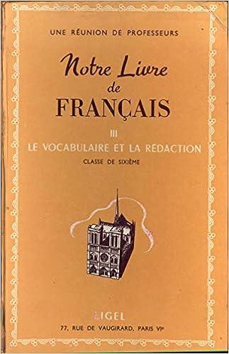Amazon Fr Notre Livre De Francais Iii Le Vocabulaire Et La