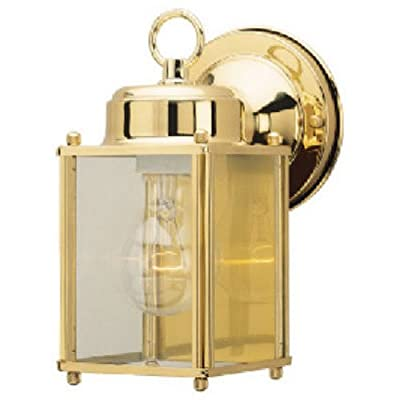 Westinghouse Lighting 6693600 One-Light Exterior Wall Lantern, Polished Brass Finish on Steel with Clear Glass Panels - Lantern Flashlights - .com