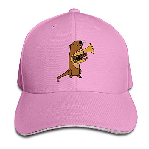 (Youbah-01 Women's/Men's Sea Otter Playing Tuba Adult Adjustable Snapback Hats Dad Hat Pink)
