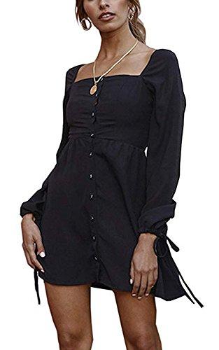 Abito lunghe Mini Camicia Moda Nero spalla maniche Gonna line a da Abito Elegante Principessa a Festa Abito da Off Abito aazgBOq