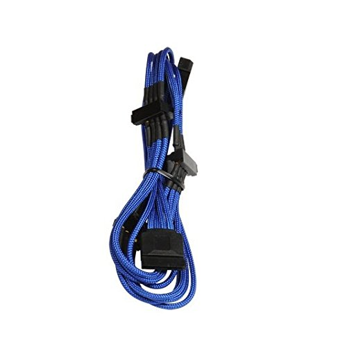 BitFenix 20cm Molex to 4x SATA Adapter - Sleeved Blue/Black BFA-MSC-M4SA20BK-RP