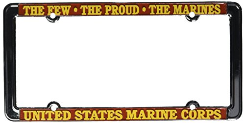 Honor Country U.S. Marines Thin Rim License Plate Frame (Chrome - License Plate Frame Marines