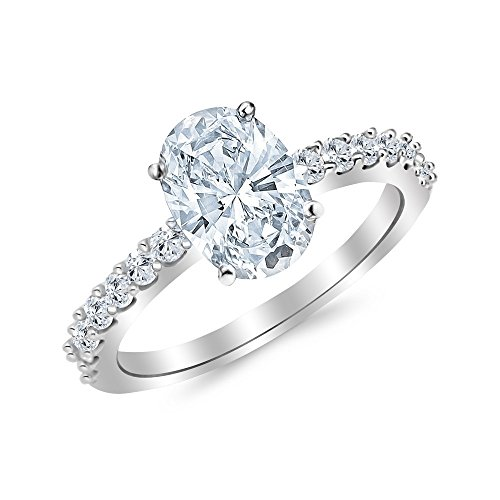 1 Carat 14K White Gold Classic Side Stone Prong Set Oval Cut GIA Certified Diamond Engagement Ring (0.5 Ct D Color VS2 Clarity Center Stone) (Gia Oval Graded Diamond)