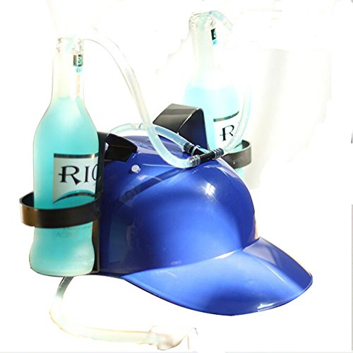 Drinking Hats With Straws - Beer and Soda Drinking Helmet- Party Hat (Blue)