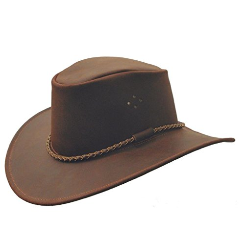 (Classic Kakadu Sydney Leather hat with Round Hatband KTA Brown)