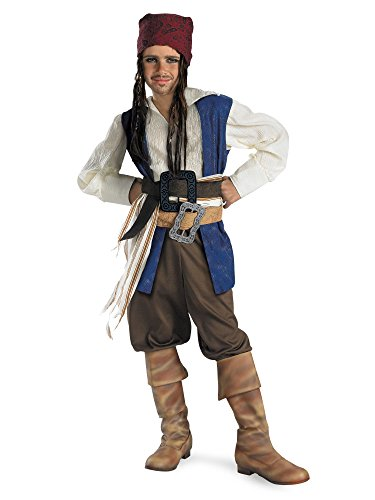 Disguise Disney Pirates of The Caribbean Captain Jack Sparrow Classic Boys Costume, -