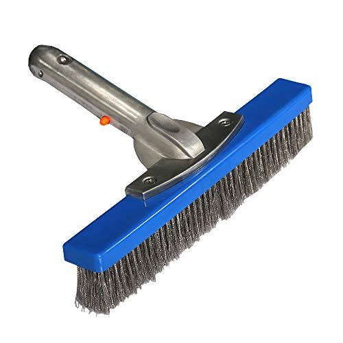 Daveyspa 10''Swimming Pool Brush Stainless Steel Wire Brush for Walls,Tiles & Floors Curved Cleaning Brushes. ()
