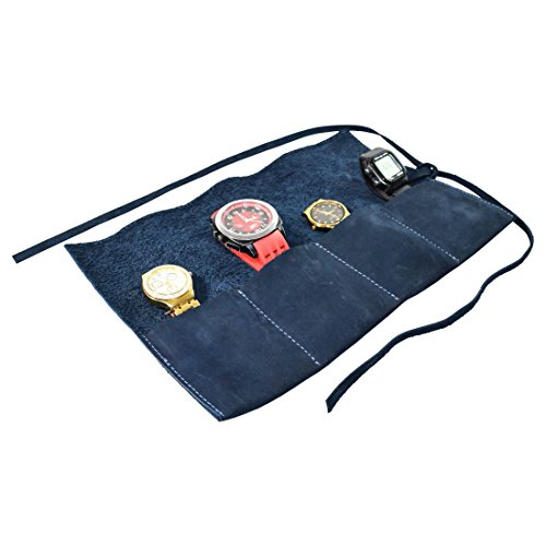 - Hide & Drink Durable Leather Travel Watch Roll Organizer Holds Up to 4 Watches Handmade Blue Suede