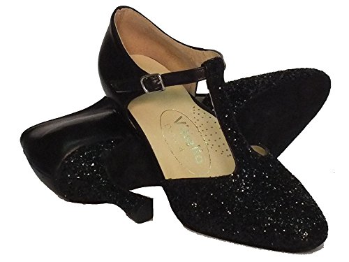Standard De Pelle Cristallo Piel Negro Zapatos Dance Vitiello Nero Shoes E Vestir Para Mujer qwSRtHXg