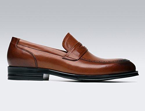 Scarpe Uomo in Pelle Primavera scarpe da uomo in pelle scarpe casual tondo testa stile britannico scarpe singole Business formale usura scarpe da sposa marea ( Colore : Nero , dimensioni : EU 41/UK7 ) Yellow-brown