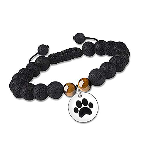 Puppy Paw Print Dog Bracelets Pet Memorial Gifts for Her Essential Oil Bracelets for Women Beads Beaded Healing with Lava Rock Stone Aromatherapy Diffuser Animal Jewelry