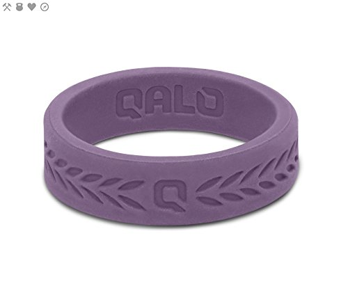 Cheap QALO Women's Lilac Purple Laurel Q2X Silicone Ring, Size 7