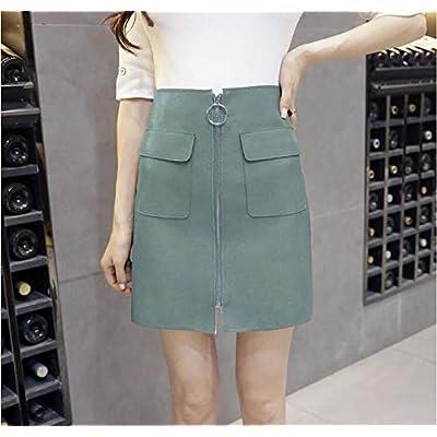 ShAwng Señoras de Las Mujeres de Cuero de imitación de la PU Cremallera Completa Anillo de Metal Falda de Cintura Alta Sexy lápiz Mini Bodycon Bolsillos elásticos Faldas: Ropa y accesorios