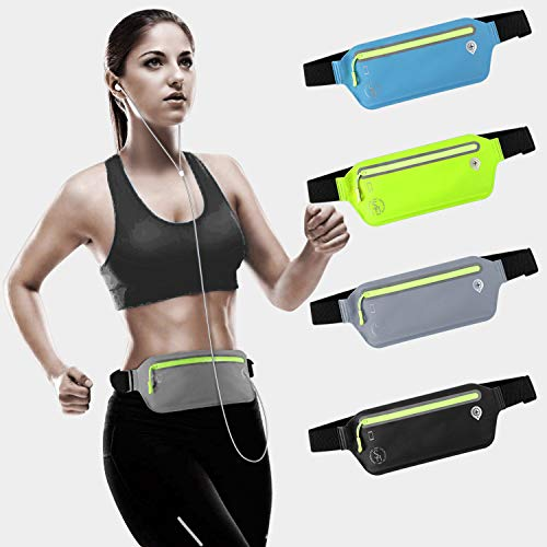 WPPOWER Slim Running Belt,Workout Belt Sport Waist Pack Exercise Waist with Pouch Cell Phone Hole for Travel Handy Hiking Sport(Grey)