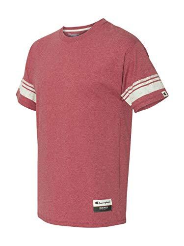 Champion Men's Authentic Originals Tri-blend Short Sleeve Varsity Tee, Carmine Red Heather Stripe, X-Large