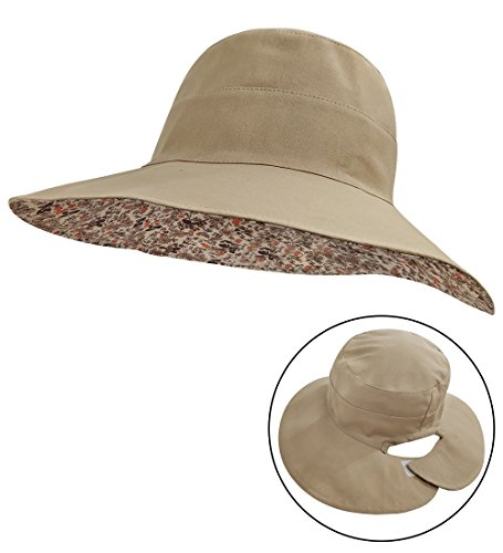 LETHMIK Womens Reversible Bucket Hat,Wide Brim Beach Sun Hat Packable Rear Open