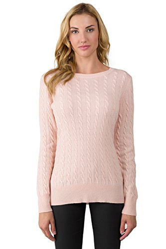 J CASHMERE Women's 100% Cashmere Long Sleeve Pullover Cable Crewneck Sweater PinkPearl (Pink Cashmere Crewneck Sweater)