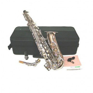 Merano E Flat Silver Alto Saxophone with Case+Mouth Piece+Black Music Stand+Metro Tuner+11 Reeds