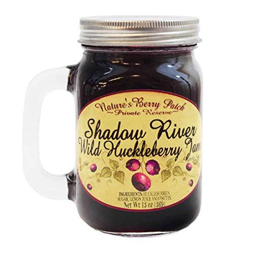 Shadow River Wild Huckleberry Gourmet Berry Jam With Real Fruit Pieces, 13 oz Jar Mug With Handle
