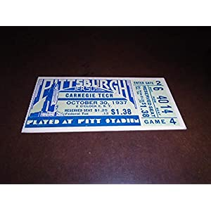 1937 CARNEGIE TECH AT PITT COLLEGE FOOTBALL TICKET STUB EX MINT