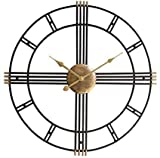 Funtabee Large Metal Black Skeleton Oversized Kitchen Wall Clock Retro Vintage 50cm Wall Clock, Silent Non-ticking, Unique Elegant Design, Great for lounges, kitchens, pubs, lofts, cafes