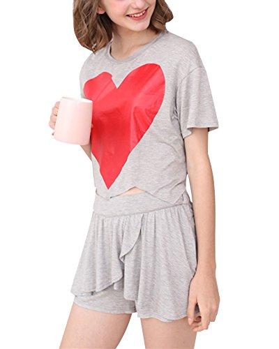 Da Donna Biancheria Loungewear Pigiama Pezzi Grigio Stampa Estate Notte 2 Pantaloncini Cihui Maglietta Set XUqxggvw