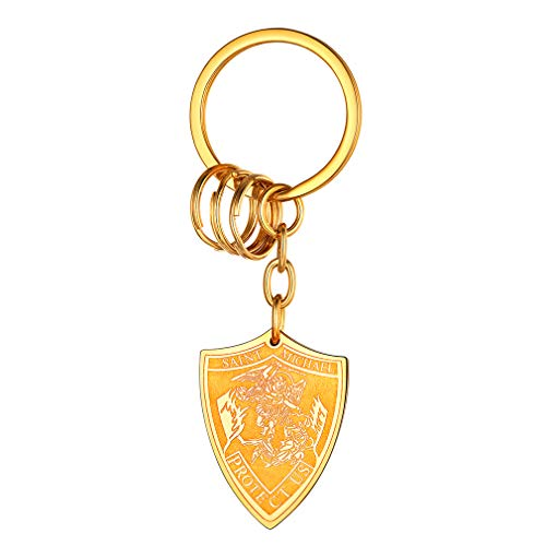 FaithHeart Saint Michael Keychain Shield Shape, Personalized Engraving Best Gifts for Men/Women, Gold Plated St. Michael The Archangel Keychain Rings Jewelry (Send Gift Box)
