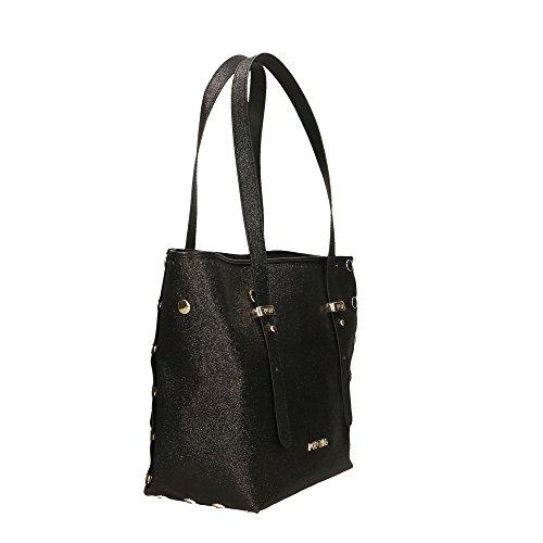 en Impression Noir Rase femme Made véritable 23x23x12 main Sac Italy in cuir Cm POP Paillettes Bags à OwaqgxRAX