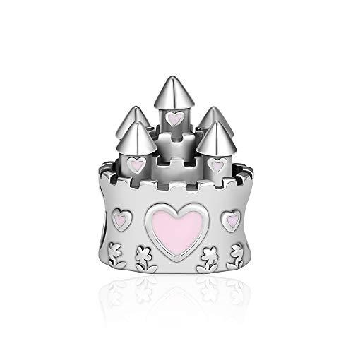 CKK 100% 925 Sterling Silver Princess Castle Charms Sleeping Beauty Fits Pandora Bead Bracelet,Mixed Enamel