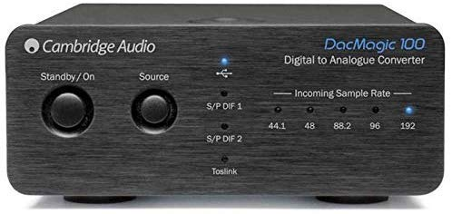 Cambridge Audio DacMagic 100 S/PDIF Digital to Analog Converter DAC with Toslink Input, TV Compatible, 192kHz (Black)
