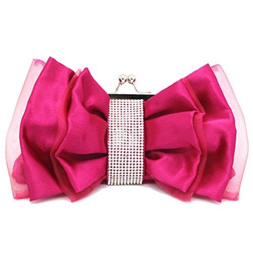 Banquet Handbag Bridal type Bow Fashion Purple Dinner Bag Chain Flower Evening Ladies Bag Bag Bag Rhinestone Clutch Silk U4yAOwgq