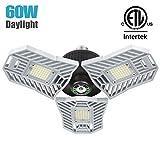 Falive Garage Lighting Tri Bright Garage Light 6000LM 60W Shop Lights for Garage, Deformable Led Light with 3 Adjustable Panels,Garage Ceiling Light Led Workshop Light(No Motion Detection): more info