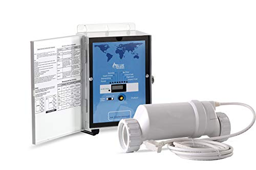 BLUE WORKS Pool Chlorine Generator Chlorinator BLH30 | for 25k Gallon Pool | with Flow Switch and Salt Cell | 5 Year Limited Warranty (White)