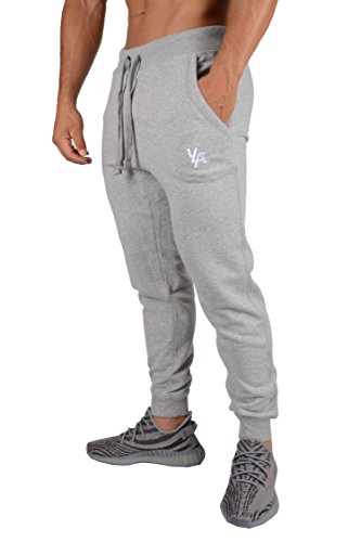 YoungLA Joggers Pants for Men Athletic Sweatpants Gym Workout Slim Fit with Pockets 216 Gray Small