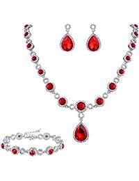 Women's Fashion Wedding Bride Crystal Infinity Figure 8 Teardrop Y-Necklace Bracelet Earrings Set