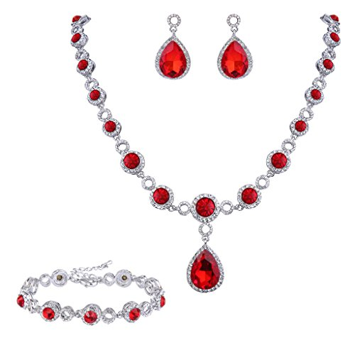 Women Fashion Bride Sets Pendant Necklace And Elegant Earrings Red - 4