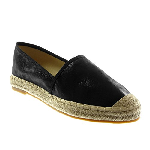 Angkorly Women's Fashion Shoes Espadrilles - Slip-on - Grained - Cord Block Heel 2.5 cm Black
