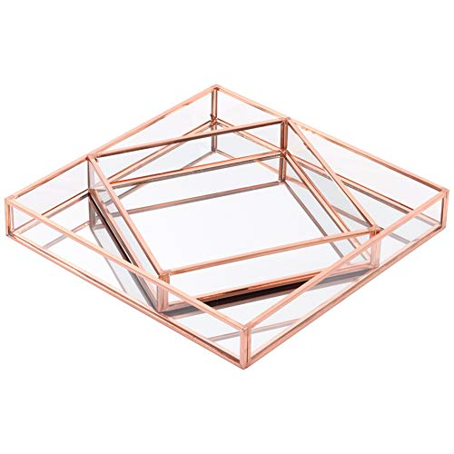 Koyal Wholesale Glass Mirror Square Trays Vanity Set of 2, Rose Gold - Black Accessories And Mirrored Bathroom