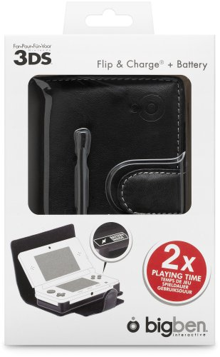 Bigben Flip & Play Carrying Case with Battery Boost for Nintendo 3DS (Black)
