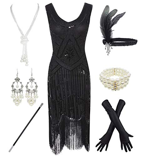 1920s Gatsby Sequin Fringed Paisley Flapper Dress with 20s Accessories Set (2XL, Black-Black) from esrtyeryh Women Costume
