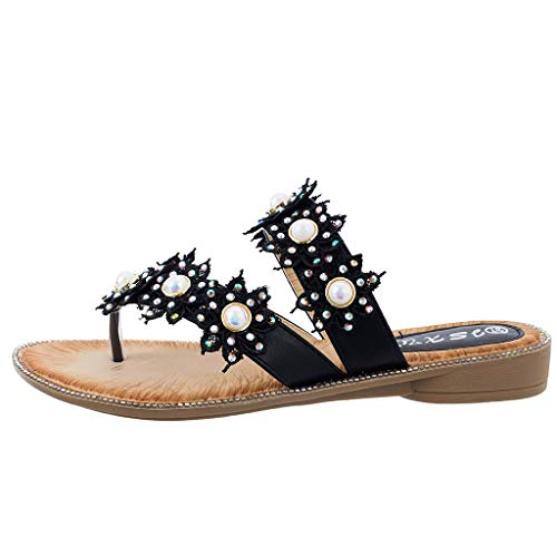 Respctful✿Women's Non-Slip Casual Sandals Boho Beading Ladies Strappy Flip Flops Shoes Ankle T-Strap Thong Elastic Flat Black