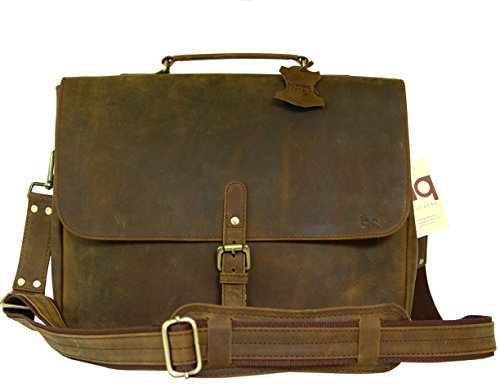 Crazy Horse Leather Postal Messenger Bag With Paded Laptop Compartment in Rustic Vintage Look by BASIC GEAR by Basic Gear