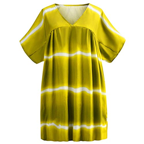 IAMCOOL 2019 African Dresses for Women, Women's Plus Size V-Neck Casual Loose Pullover Tie Dye Print Mini Dresses Yellow (Tie Dye Toothbrush)