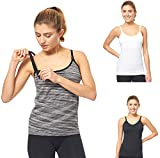 3 Pack 3 Style Clip-down Double Opening Maternity Nursing Tank Top and Cami Shirts Clothes For Mother's Breast Feeding, Multi (3 Pack-Large Size)