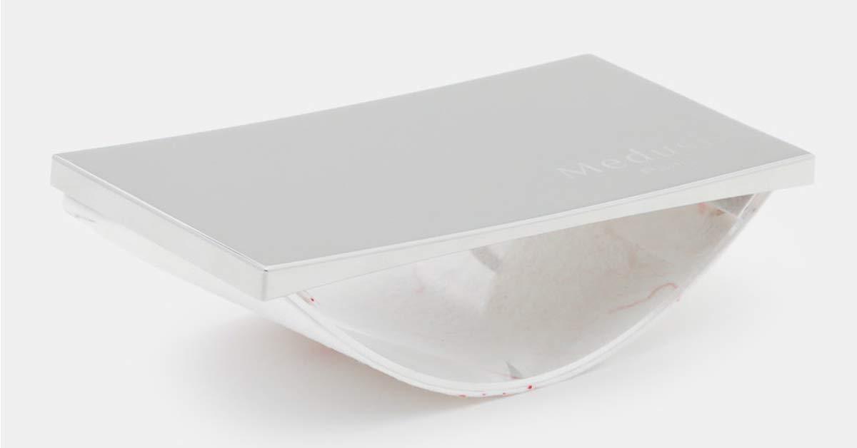 Piccolo porta inchiostro in acciaio inox spazzolato e carta assorbente fatta a mano Medusis