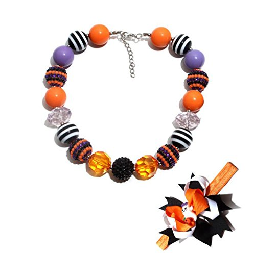 NextStone Cute Girls Halloween Multicolored Chunky Beads Bubblegum Necklace Hairbands Set